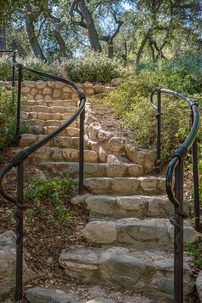 Stairway to terraced garden