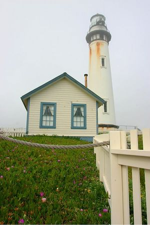 The Pigeon Point Lighthouse along Highway 1, California.