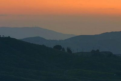 Sunset on the hills of Riverside county, California.