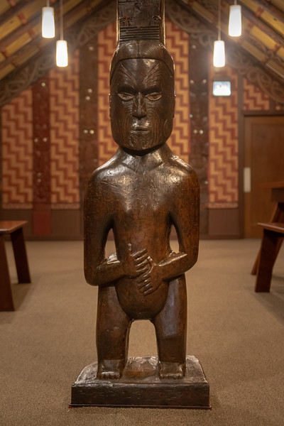 Carved figure inside the Maori Meeting House