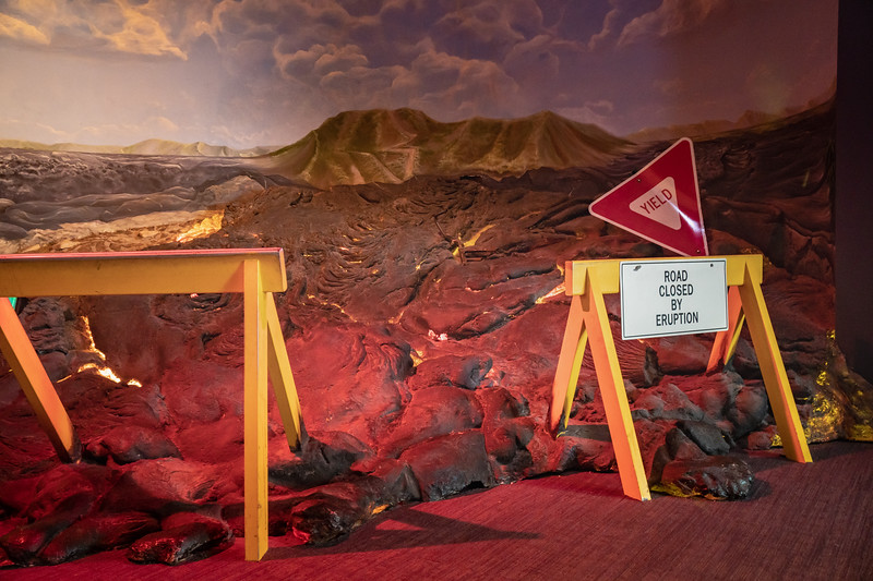 Exhibit reenacting the recent volanic eruption on Hawaii