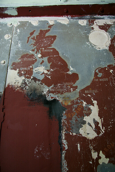 A map of the European theater found under layers of paint during renovation.
