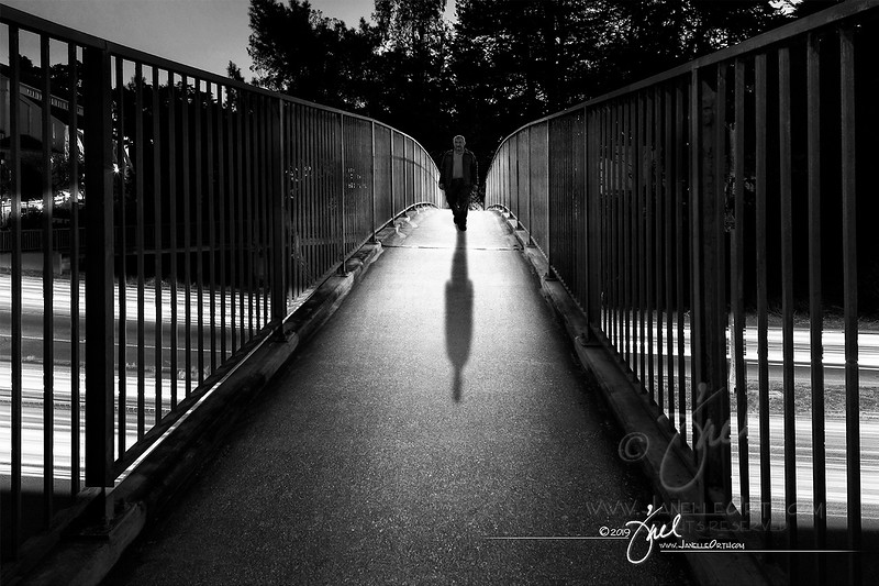 Foot Bridge with light trails