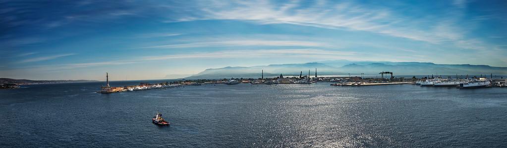 Panorama view of Messina Harbor