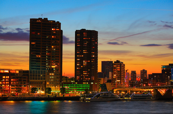 Rotterdam skyline at sunset