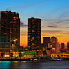 Rotterdam skyline at sunset