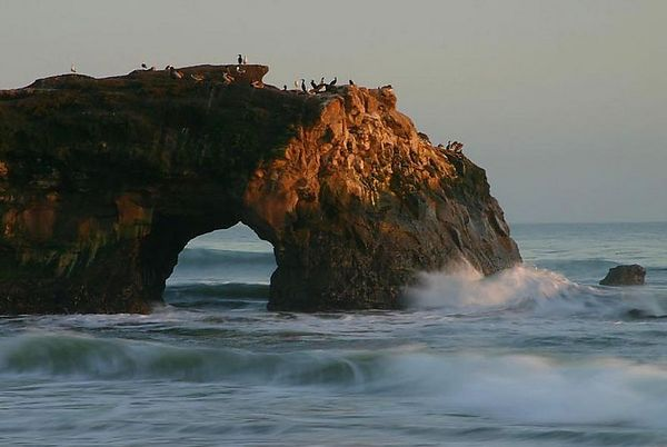 View at sunset on the Natural Bridge State Park, California.
