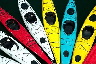 Colorful Kayaks, Santa Cruz wharf, California.
