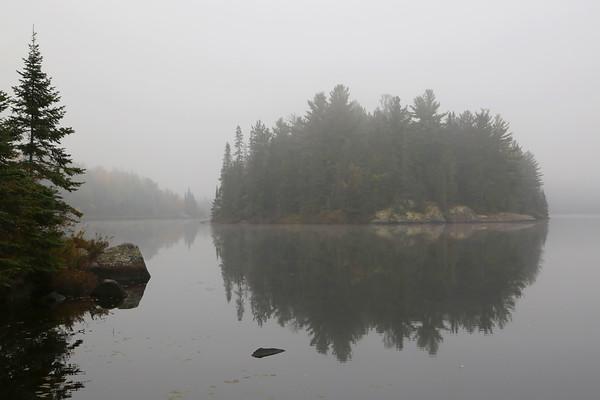 Misty Morning Island near Hay Lake, Ontario