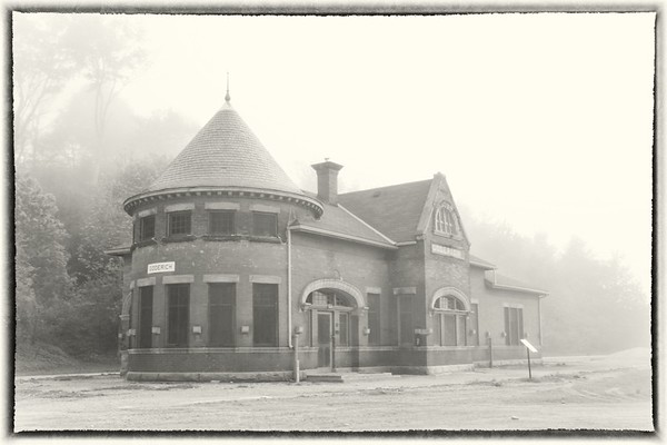 Railway Station on a Foggy Day in Goderich