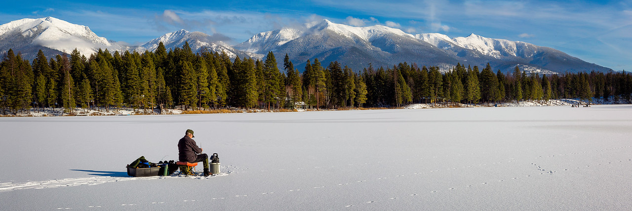 "Swan Lake, Montana - Ice Fishing Pano 12""x36"" Stretched Canvas only $139.99 or 24""x72"" please contact me for low price special order"