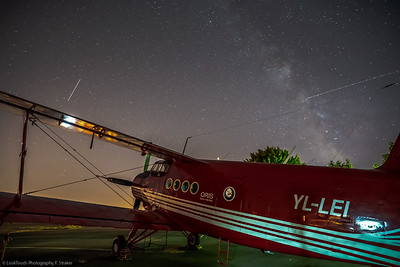 A glimpse of the Milky Way, falling stars and a veteran Antonov An-2 double decker.