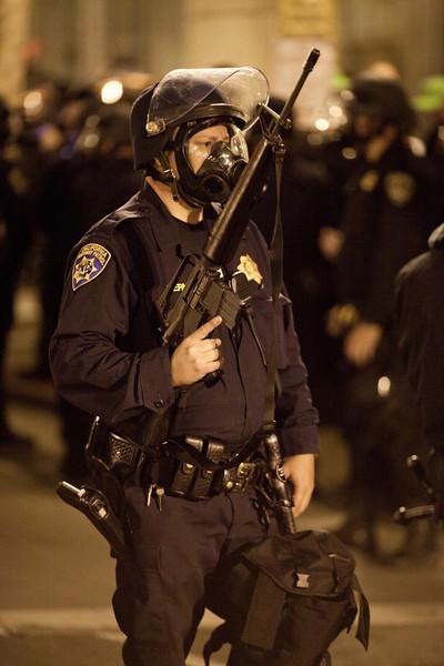 Riot Cop and Assault Riffle, Oakland Riots, 2010