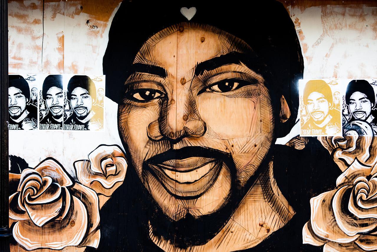 Oscar Grant Mural, Oakland Riots, 2010