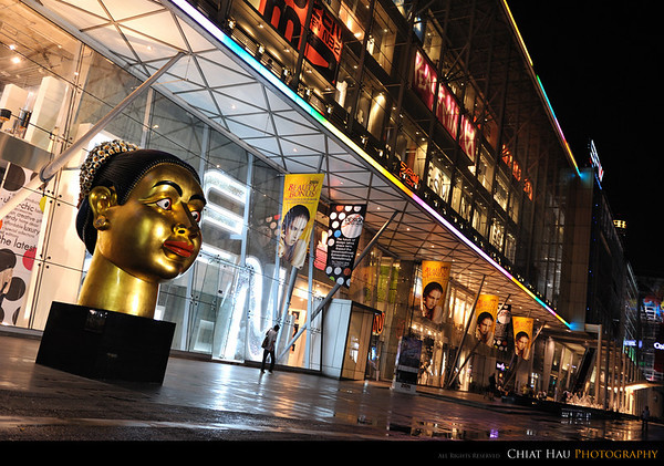 You will find this golden head display at the central world...