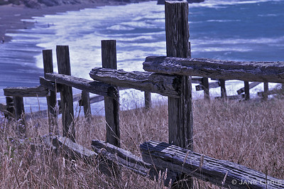 Fence and Breaking Waves, Marin, CA