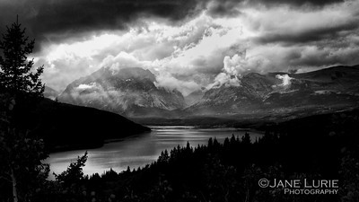 Afternoon Storm Black and White, Glacier National Park