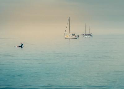 Sailboats and Paddleboard Rider 2