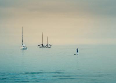 Sailboats and Paddleboard Rider