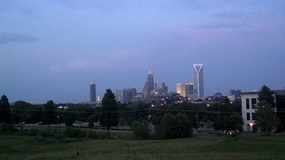 sky and clouds over charlotte skyline