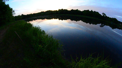 at a remote lake before sunset
