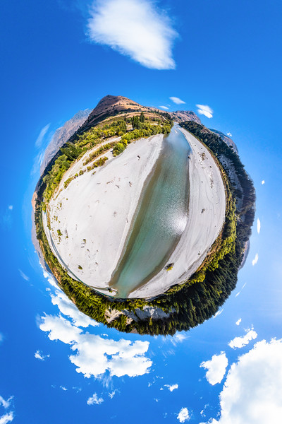 Spectacular aerial scenery from the Shotover riverbanks - Queenstown Lakes District