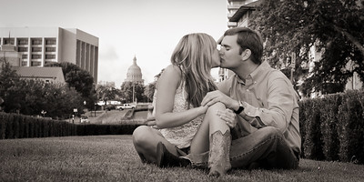 Saturday August 18, 2012  Young Texans in Love  Aren't they a beautiful couple? The wedding is almost a year away. We had so much fun shooting their engagement portraits on campus at their alma mater, UT. That's the Texas State Capital in the background. When we turned around and shot in the other direction, we had the famous UT Watchtower in the background.