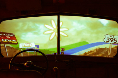 Friday September 21, 2012  All Aboard the Magic Bus! Can you believe a trip to Woodstock is considered to be an educational experience? There's a museum there now. This is one of the displays, an actual bus body with a movie in the windshield. Our world has changed so much since 1968... not that I recall much of 1968. Hey, now! I know what you're thinking. I was a toddler!