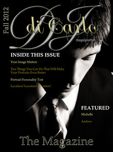 "Thursday September 6, 2012  DJ diCarlo Image Gourmet: The Magazine  We will be launching our senior portraits website soon and it will include an online magazine for seniors. This is the model of our 1st cover. Once the magazine contents are complete, the titles on the cover will become hyperlinks to the corresponding articles in the magazine. It will also have a page turning feature for browsing. Here's the thing... This is only a working model. So honest critiques are VERY appreciated. If you have any lay out suggestions or article suggestions, please share them. I'm wanting this magazine to be a big part of our marketing strategy. So it has to impress teens. Our kids already had one suggestion we are considering. They think we should include a fun article like ""What to Do if the Zombie Apocalypse Starts During Your Portrait Session"". Cute, huh?"