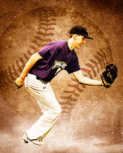 Here is one of our composite senior photos. This is of none other than Trevor showing off his fielding skills.