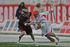 2013 Tewaaraton Award winner Rob Pannell of Cornell scored 2 goals and added 5 assists in a driving snow against Colgate.  March 2, 2013, Schoellkopf Field, Ithaca, NY.