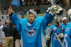 Rochester Knighthawks goaltender Matt Vinc celebrates after a 12-10 victory over the Minnesota Swarm in the East Finals sent Rochester back to the Champions Cup after winning it in 2012.  May 4, 2013, Blue Cross Arena, Rochester, NY.