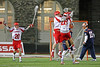 In the 3rd longest rivalry in college lacrosse the Cornell Big Red upset #11 Syracuse 10-9 in overtime to win the 2016 contest between upstate New York powerhouses.  April 12, 2016.  Schoellkopf Field at Cornell University, Ithaca, NY.