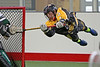 Syracuse Stinger's Ryan Cook gets serious air while scoring this goal on a front dive back flip shot against the Vermont Voyageurs at the inaugural LaxAllStars.com North American Invitational.  September 30, 2016.  Onondaga Nation Field House, Nedrow, NY (Tsha'Thon'nhes, Onondaga Nation).