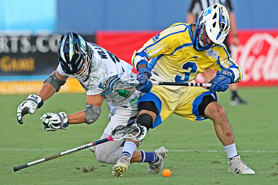 After jumping out to an 11-2 first half lead, the Florida Launch barely held on for a 20-19 victory over the Chesapeake Bayhawks.  July 15, 2017.  FAU Stadium, Boca Raton, Florida.