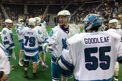 The Rochster Knighthawks celebrate Graeme Hossack's empty net goal with 1 second left to play that broke an 8-8 tie in a very odd ending to the game.  Ironically enough, the Swarm would win the 2017 Champions Cup against the Saskatchewan Rush in similar fashion.  April 29, 2017.  Infinite Energy Arena, Duluth, Georgia.
