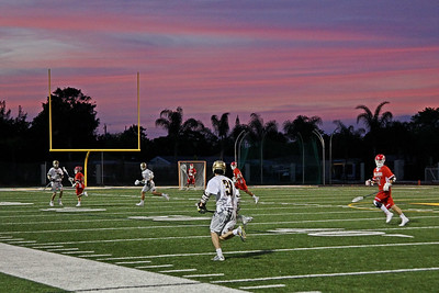 Sunset fell on Lake Highland Prep as they travel and lose to St. Thomas Aquinas 16-9.  These two teams would meet again in the state championship with St. Thomas Aquinas winning their 2nd straight title.  February 17, 2017.  St. Thomas Aquinas, Ft. Lauderdale, Florida.