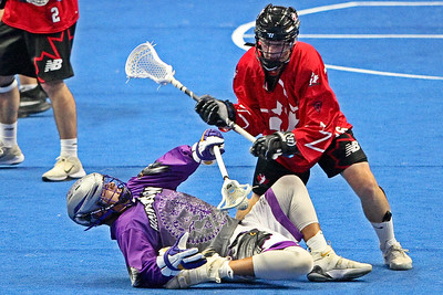 In U-17 competition, Canada completely upended the Haudenosaunee 25-7 at the Heritage Cup.  October 21, 2017.  FirstOntario Centre, Hamilton, Ontario.