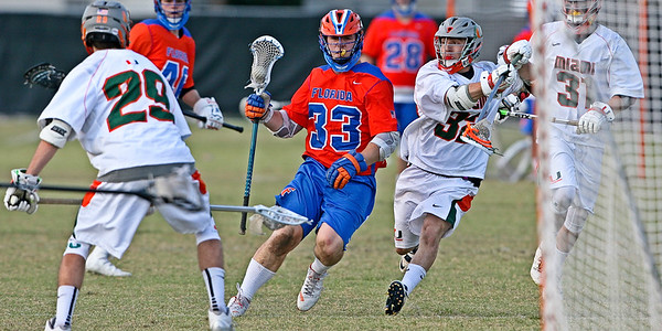 The Florida Gators traveled to Miami and pounded the Hurricanes 24-4 in MCLA action.  April 8, 2017.  Cobb Stadium at UM, Coral Gables, Florida.