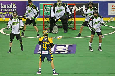 The Saskatchewan Rush were attempting to 3PEAT but 2017 NLL MVP Lyle Thompson and the Georgia Swarm swept the Rush 2 games to none to earn the Swarm's first NLL Championship.  June 4, 2017, Game 1.  Infinite Energy Arena, Duluth, Georgia.