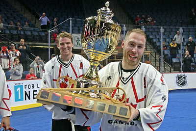Team Canada's Ryan Dilks (right) and Brodie Merrill are all smiles after beating the United States 19-6 to win the Heritage Cup.  October 21, 2017.  FirstOntario Centre, Hamilton, Ontario.