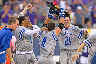 Cabrini celebrates wildly after beating Amherst 16-12 to win the D3 National Championship that was played less than 30 miles from their campus.  May 26, 2019, Lincoln Financial Field, Philadelphia, PA