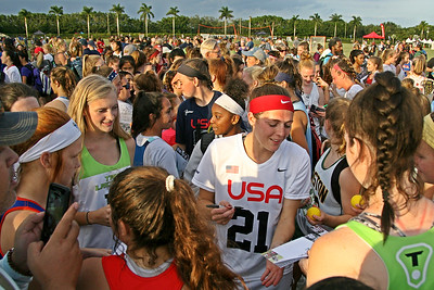 Team USA's Taylor Cummings signs autographs for fans after their 19-16 victory over a WPLL squad using the new Olympic 6 vs 6 rules at the IWLCA President's Cup.  November 23, 2019, The International Polo Club Palm Beach, Wellington, FL.