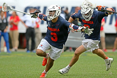 Virginia's Ian Laviano (#3) celebrates after his goal in double overtime beat Duke 13-12 and sent the Cavaliers into the National Championship game.  Laviano scored 4 goals in the victory including the game tying goal with 15 seconds left in regulation.  May 25, 2019, Lincoln Financial Field, Philadelphia, PA