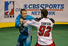 Rochester Knighthawks Pat McCready and Philadelphia Wings Paul Dawson square off on NLL Opening Night in Philadelphia. 10 game misconducts were issued in a game marred by fights.  The Wings lost the game in blowout fashion 22-12 at the Wells Fargo Center.  January 14, 2012.