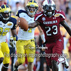 South Carolina Gamecocks wide receiver BRUCE ELLINGTON (23) catches the game winning pass in the second half of the 2012 NCAA Outback Bowl between the South Carolina Gamecocks and the Michigan Wolverines at Raymond James Stadium.  The Gamecocks won the game 33 - 28