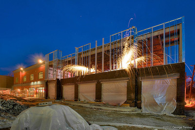 Building construction with sparks flying