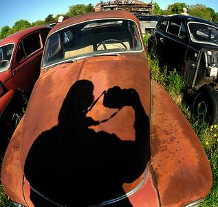 My Shadow taking photos at the Volvo Graveyard