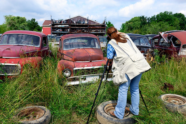 Photographer in the Volvo Graveyard