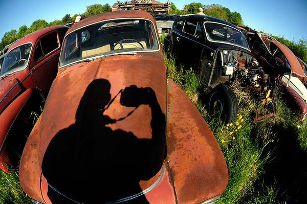 My Shadow taking photos at the Volvo Graveyard